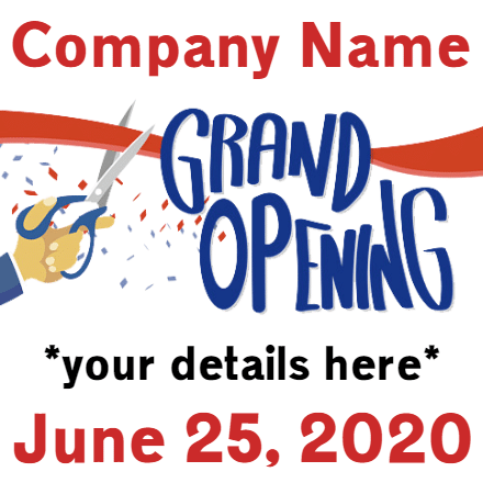 Customize Your Own Grand Opening Banner - Ribbon Template - Custom Graphix