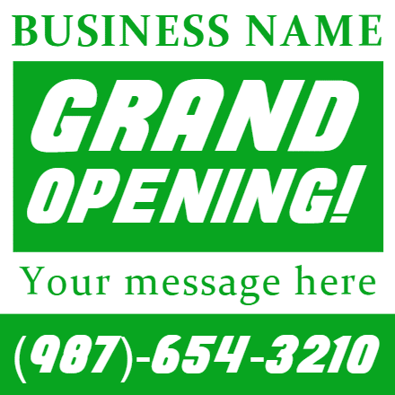 Customize Your Own Grand Opening Banners - Green Template - Custom Graphix