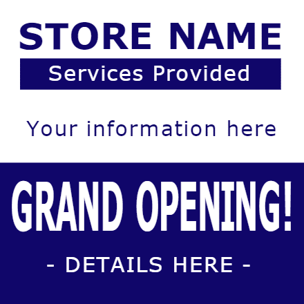 Customize Your Own Grand Opening Banners - Blue Template - Custom Graphix