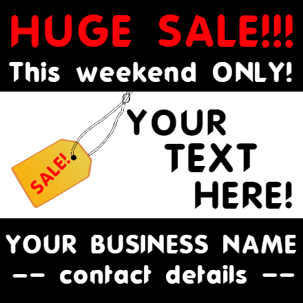 Customize Your Own Retail Banner - Huge Sale Template - Custom Graphix