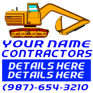 Customize Your Own Contractors Banner - Backhoe Template - Custom Graphix