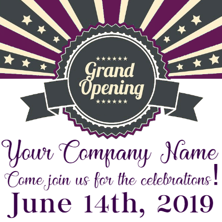 Customize Your Own Grand Opening Banner - Grey Seal Template - Custom Graphix