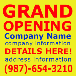 Customize Your Own Grand Opening Banners - Yellow Template - Custom Graphix