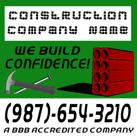 Customize Your Own Contractors Banner - We Build Template - Custom Graphix