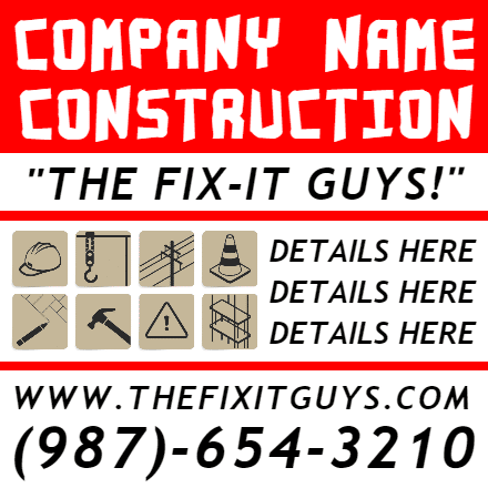 Customize Your Own Contractors Banner - Fix It Template - Custom Graphix