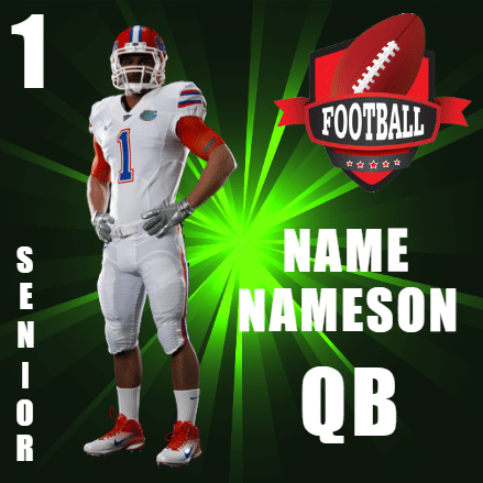 Customize Your Own Football Banners - Player Template - Custom Graphix