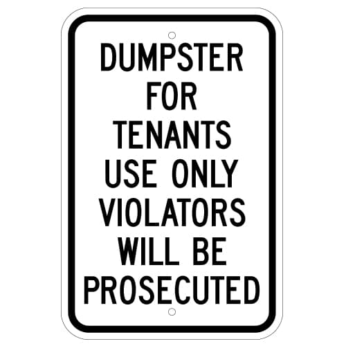 Customize Your Own Aluminum Metal Signs - Dumpster for Tenants Template - Custom Graphix